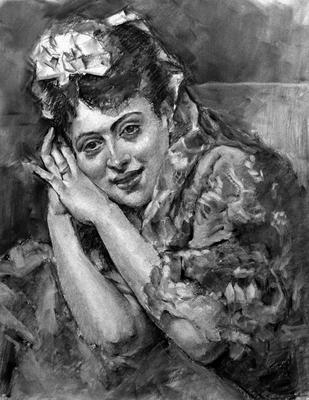 Aline Masson. Copia de R. Madrazo, carboncillo 65 x 50 cm. Antonio Ortíz (Alumno de 3º año)