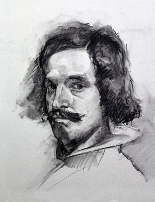 Autorretrato (Sketch 1ª parte). Copia de Velázquez, carboncillo 65 x 50 cm. Antonio Ortíz (Alumno de 3º año)
