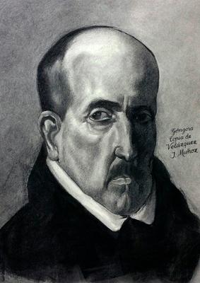 Góngora. Copia de Velázquez, carboncillo 65 x 50 cm. Jesús Muñóz (Alumno de 1º Año).