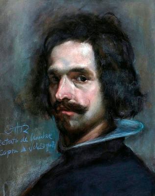 Retrato de Hombre. Copia de Velázquez, pastel 65 x 50 cm Antonio Ortíz (Alumno 5º curso)