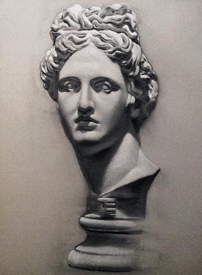 Cabeza de Apolo. Carboncillo y blanco 65 x 50 cm. Juan Pedro Amador (Alumno de 3º año)