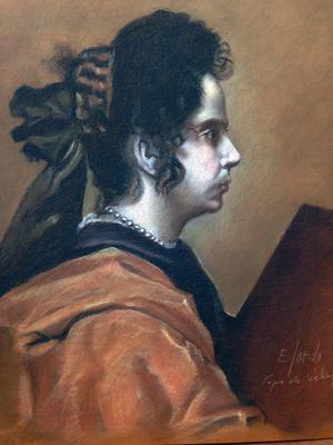 Sibila. Copia de Velázquez, sepia, sanguina, blanco y negro 65 x 50 cm. Eduardo Sordo (Alumno de 3º año)