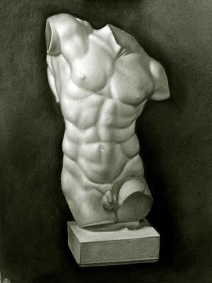 Torso de Hercules, Carboncillo y blanco 65 x 50 cm. Manolo Zambrano (Alumno de 1º año).