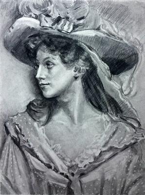 Dama con sombrero. Copia de R. Madrazo, carboncillo 65 x 50 cm. Pilar Pascual (Alumna de 2º Año).
