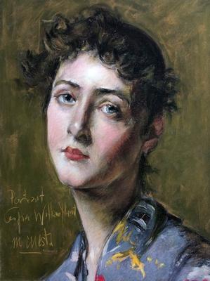 Retrato de mujer. Copia de William Merritt, pastel 65 x 50 cm María Cuesta (Alumna 5º curso)