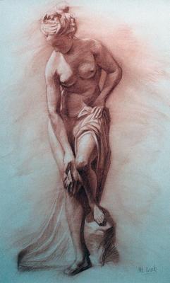 Denudo femenino. Sanguina 100 x 70 cm. María Cuesta (Alumna de 3º año)