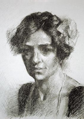 Clotilde. Copia de Sorolla, grafito 40 x 30 cm. Antonio Ortíz (Alumno de 3º año)