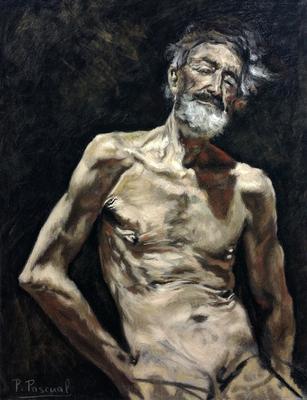 Viejo desnudo al sol. Copia de Fortuny, pastel 65 x 50 cm. Pilar Pascual (Alumna de 2º año)
