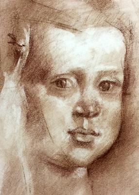 Menina (Sketch). Copia de Velázquez, sepia 40 x 30 cm. Julia Durán (Alumna de 1º año).