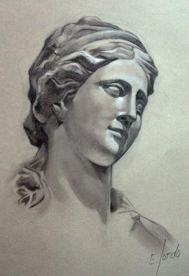 Busto femenino. Sepia 65 x 50 cm. Eduardo Sordo (Alumno de 3º año)