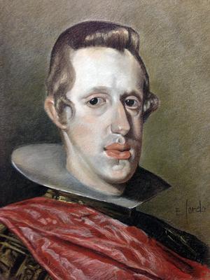 Felipe IV. Copia de Velázquez, sepia, sanguina, blanco y negro 65 x 50 cm. Eduardo Sordo (Alumno de 3º año)