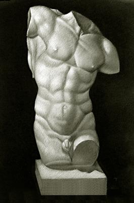 Torso de Hercules, Carboncillo y blanco 65 x 50 cm. Pilar Pascual (Alumna de 2º año).