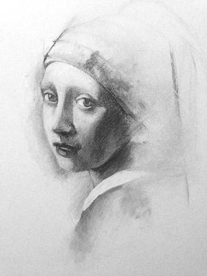 La niña de la perla (Sketch). Copia de Vermeeer, carboncillo 65 x 50 cm. Juan Pedro Amador (Alumno de 3º año)