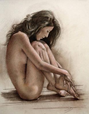 Desnudo. Sepia, sanguina, blanco y negro 65 x 50 cm. Maribel (Alumna de 3º año)