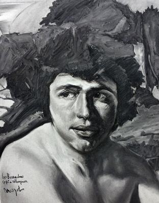 Los Borrachos (Detalle). Copia de Velázquez, carboncillo 65 x 50 cm. Manolo Zambrano (Alumno de 1º Año).
