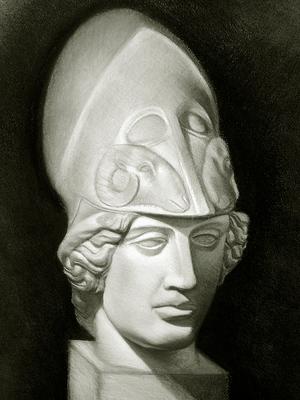 Cabeza de Diana. Carboncillo y blanco 65 x 50 cm. Juan Pedro Amador (Alumno de 4º año).