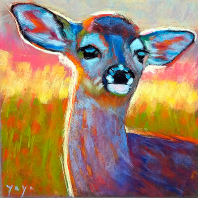 Cervatillo. Copia de Rita Kirkman, pastel 40 x 40 cm. Olalla Mancha (Alumna de 1º Año)