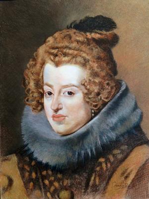 María de Austria. Copia de Velázquez, sepia, sanguina, blanco y negro 65 x 50 cm. Juan Pedro Amador (Alumno de 3º año)