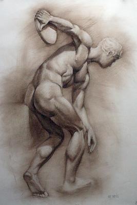 Discóbolo de Mirón. Sepia 100 x 70 cm. María Cuesta (Alumna de 3º año)