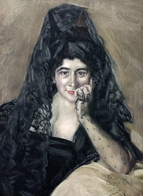 La Sra. de Urcola. Copia de Sorolla, pastel 70 x 50 cm. Ana Rodríguez (Alumna de 4º año)