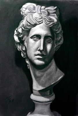 Cabeza de Apolo. Carboncillo 70 x 50 cm. Jose MKª Durán (Alumno de 1º año).