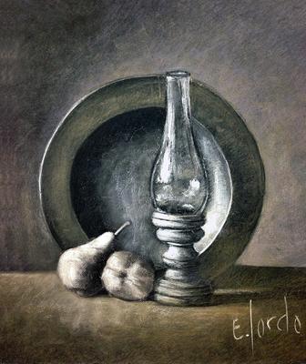 Naturaleza muerta. Pastel 60 x 50 cm. Eduardo Sordo (Alumno de 3º año)
