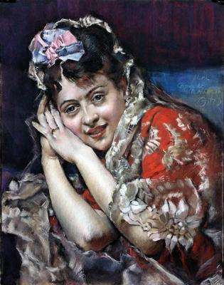 Aline Masson. Copia de R. Madrazo, pastel 65 x 50 cm. Antonio Ortíz (Alumno de 4º año)