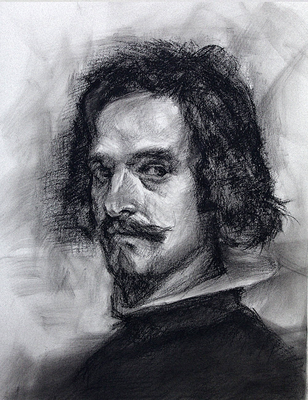 Autorretrato (Sketch 2ª parte). Copia de Velázquez, carboncillo y pastel negro 65 x 50 cm. Antonio Ortíz (Alumno de 3º año)