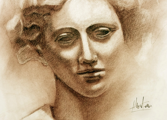 Busto femenino. Sepia 65 x 50 cm. Montaña Rodríguez Estecha (Alumna de 2º Año).