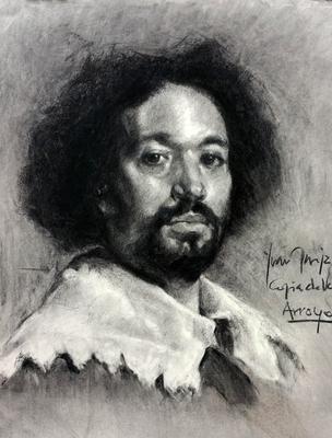 Juan de Pareja. Copia de Velázquez, carboncillo 65 x 50 cm. Juan Carlos Arroyo (Alumno de 2º año).