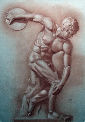 Discóbolo de Mirón. Sanguina 100 x 70 cm. Ana Rodríguez (Alumna de 3º año)