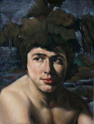 Los borrachos (Detalle). Copia de Velázquez, pastel 65 x 50 cm. Manolo Zambrano (Alumno de 2º año)