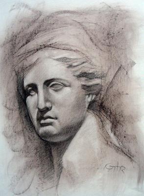 Cabeza de Venus. Sepia 40 x 30 cm.  Antonio Ortíz (Alumno de 3º año)