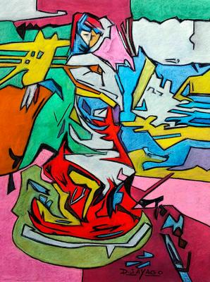 Paseando el galgo, Copia de Simancas, pastel 65 x 50 cm. Diony Sayago (Alumna de 2º año)