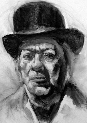 John Tuck. Copia de Michael Siegel, carboncillo 65 x 50 cm. Juan Pedro Amador (Alumno de 3º año)