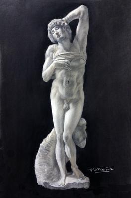 Esclavo de Miguel Ángel. Carboncillo y blanco 65 x 50 cm. Lola Fenández (Alumna de 1º año)