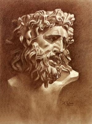 Laoconte. Sepia 65 x 50 cm. Rafael Valero (Alumno 1º año).