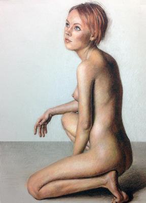 Desnudo. Sepia, sanguina, blanco y negro 65 x 50 cm. María Cuesta (Alumna de 3º año)