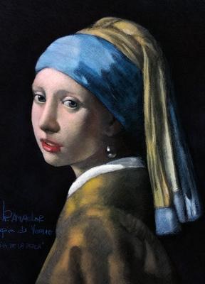 La niña de la perla. Copia de Vermeer, pastel 65 x 50 cm. Juan Pedro Amador (Alumno de 4º año)