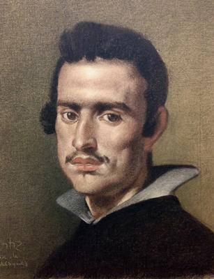 Hombre joven. Copia de Velázquez, sepia, sanguina, blanco y negro 65 x 50 cm. Antonio Ortíz (Alumno de 3º año)