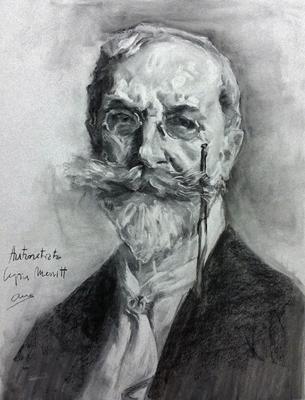 Autorretrato. Copia de William Merritt. carboncillo 65 x 50 cm. Ana Rodríguez (Alumna de 3º año).