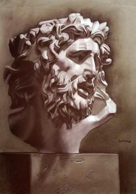 Laoconte. Sepia y lápiz blanco 65 x 50 cm. Luisma (Alumno de 3º año)