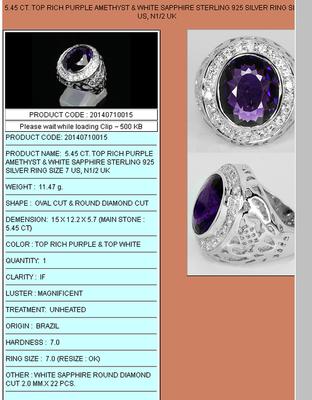 кольца с аметистом в серебре