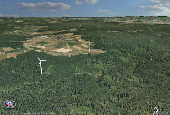 Blick über die Windräder aus nord-westlicher Richtung mit Rapperszell im Hintergrund