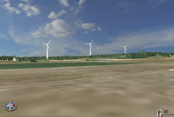 Windräder mit Rapperszeller Kreisel im Vordergrund
