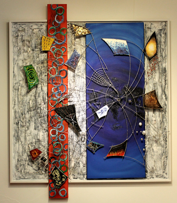 Im Mittelpunkt (80x80) Acryl/Glas/Metall auf Leinen (Im Fokus, durch Neugierde Wissen erlangen)