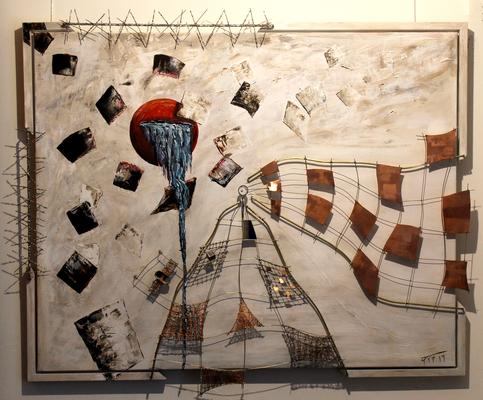 Momente im Wind (80x100) Acryl/Glas/Metall auf Leinen