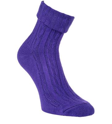 Bambus Socken mit Zopfmuster und Umschlag, Farbe dunkel lila