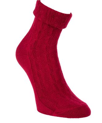 Bambus Socken mit Zopfmuster und Umschlag, Farbe rot