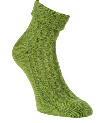 Bambus Socken mit Zopfmuster und Umschlag, Farbe kiwi